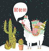 Merry Christmas greeting card with fun alpaca. Editable vector illustration