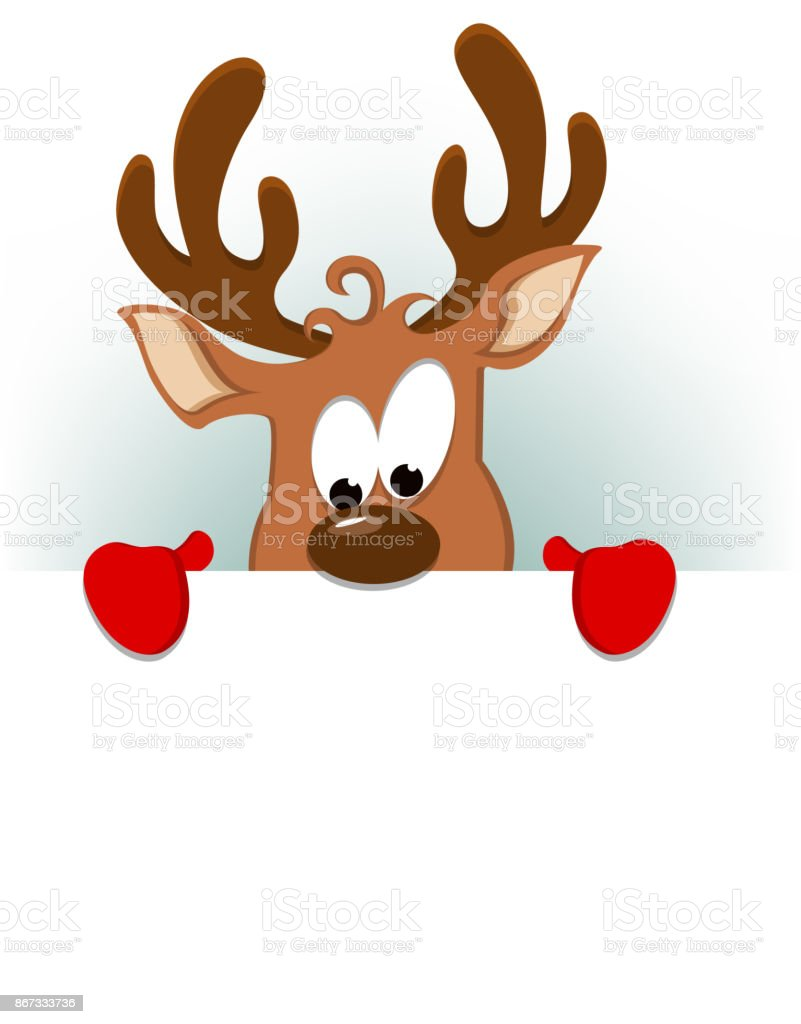 Merry christmas greeting card with funny reindeer hiding behind merry christmas greeting card with funny reindeer hiding behind blank placard royalty free merry christmas m4hsunfo