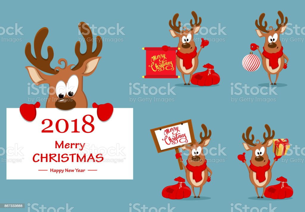 Merry christmas greeting card with funny reindeer set of vector merry christmas greeting card with funny reindeer set of vector illustrations royalty free merry m4hsunfo