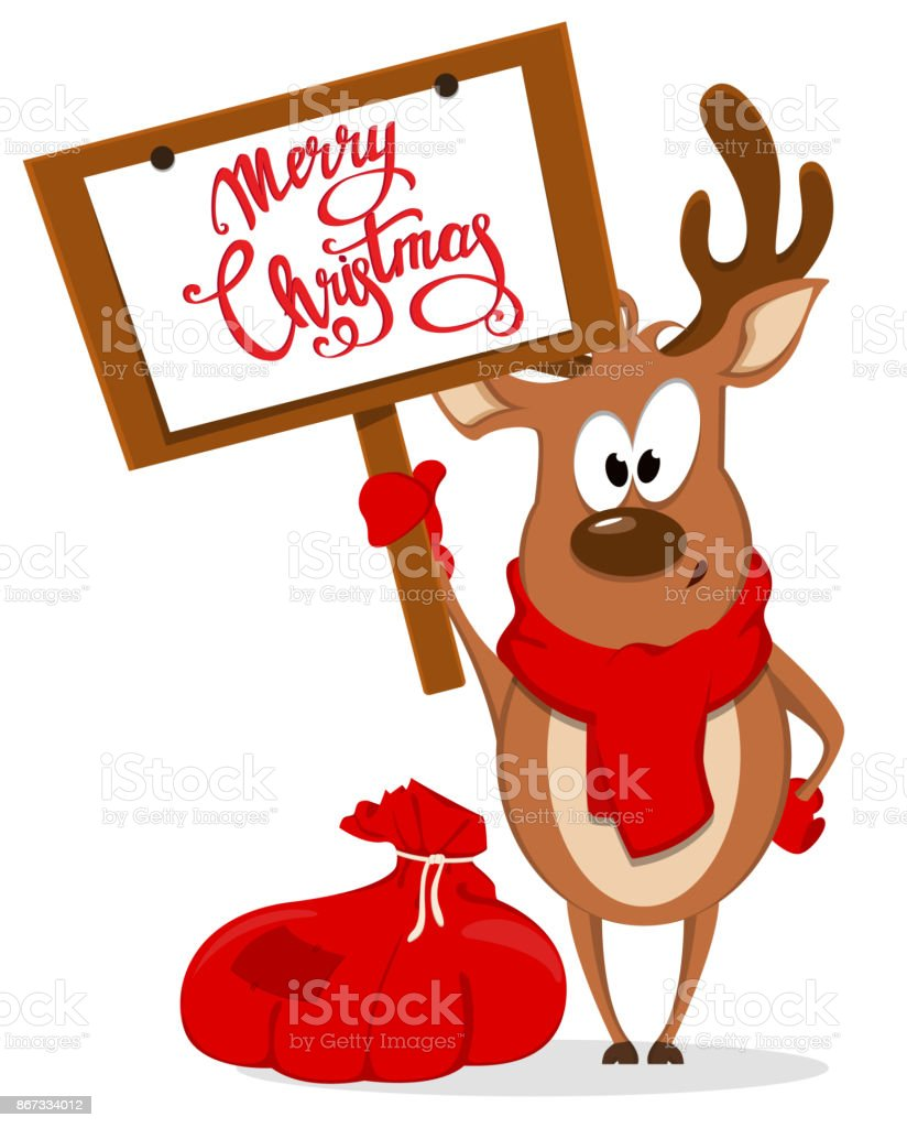 Merry Christmas Greeting Card With Funny Reindeer Standing Near Bag