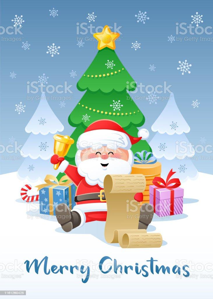 Image De Noel Drole.Joyeux Noel Carte De Voeux Avec Le Pere Noel Drole Vecteurs