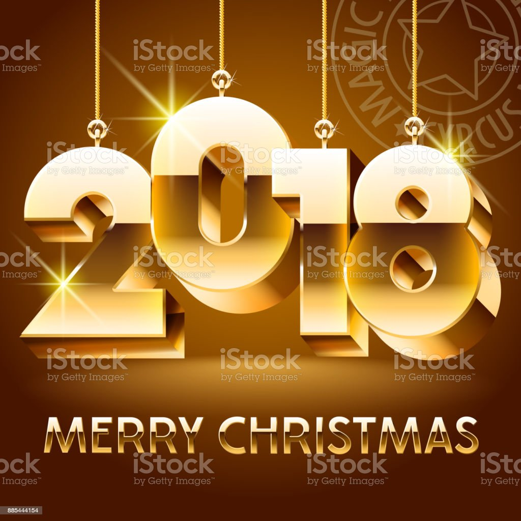 Merry christmas greeting card with golden shine toys 2018 stock merry christmas greeting card with golden shine toys 2018 royalty free merry christmas greeting card kristyandbryce Image collections