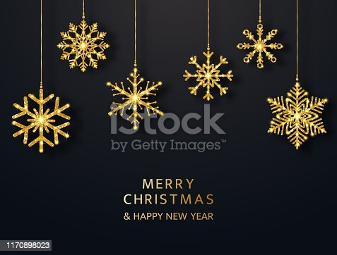 Merry Christmas greeting card with hanging glitter snowflakes. Bright gold baubles on black background. Luxury holiday design elements. Vector illustration.