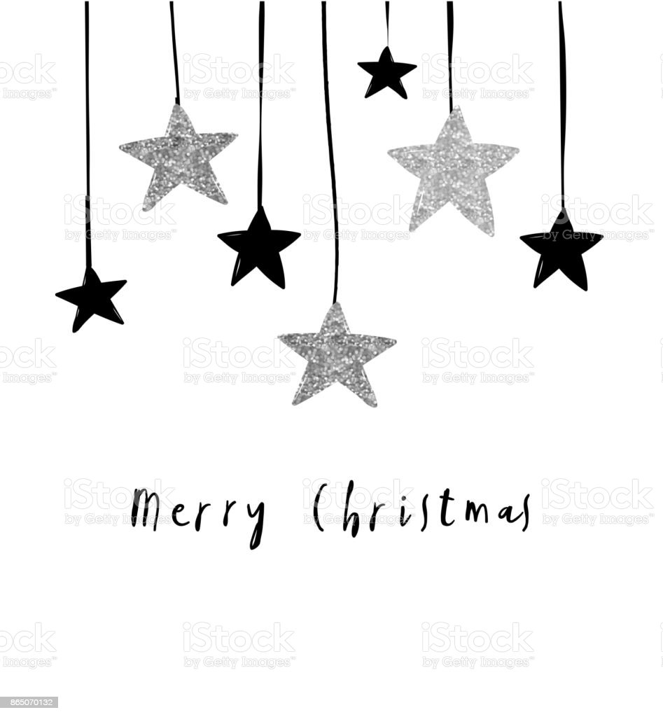 Merry Christmas greeting card with hanging stars vector art illustration