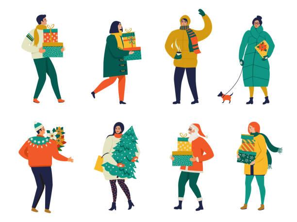 사람들이 산책 하 고 선물 상자를 들고와 메리 크리스마스 인사 카드. 크리스마스 겨울 포스터 컬렉션입니다. - 가공의 인물 stock illustrations