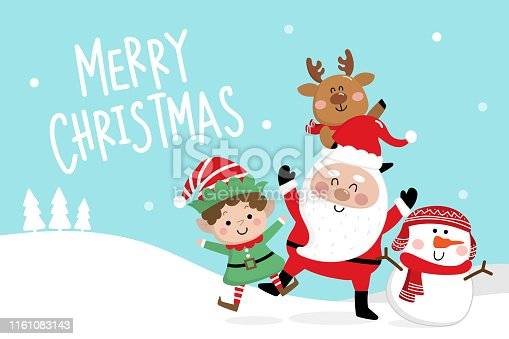 Merry Christmas greeting card with Santa Claus, deer, snowman and little elf. Cute holiday cartoon character vector.
