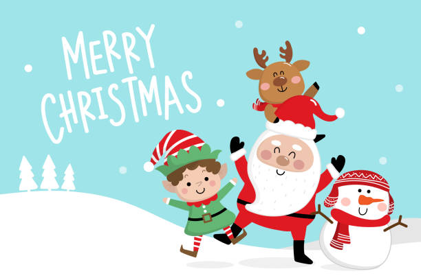 merry christmas greeting card with santa claus, deer, snowman and little elf. cute holiday cartoon character vector. - christmas background stock illustrations