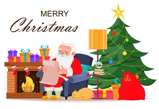 frohe weihnachten-grußkarte mit santa claus - kaminverkleidungen stock-grafiken, -clipart, -cartoons und -symbole