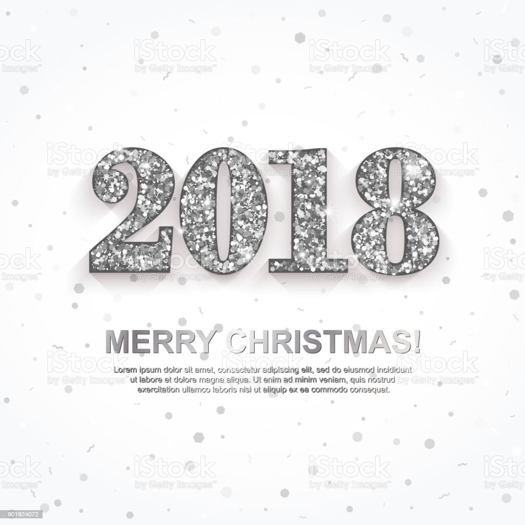 2018 merry christmas greeting card with silver numbers white background new year invitation poster