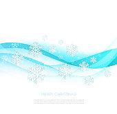 Merry Christmas greeting card with snowflakes