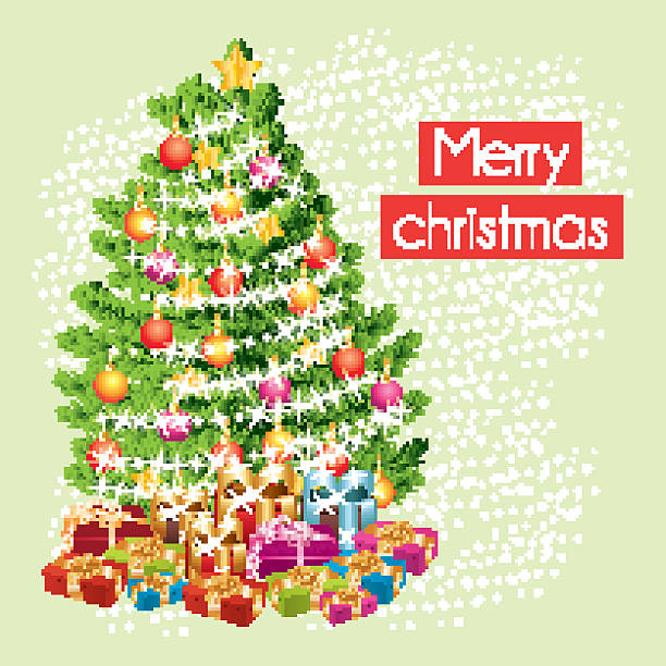 Merry Christmas Greeting Card With The Gifts Under Tree Vector Art Illustration