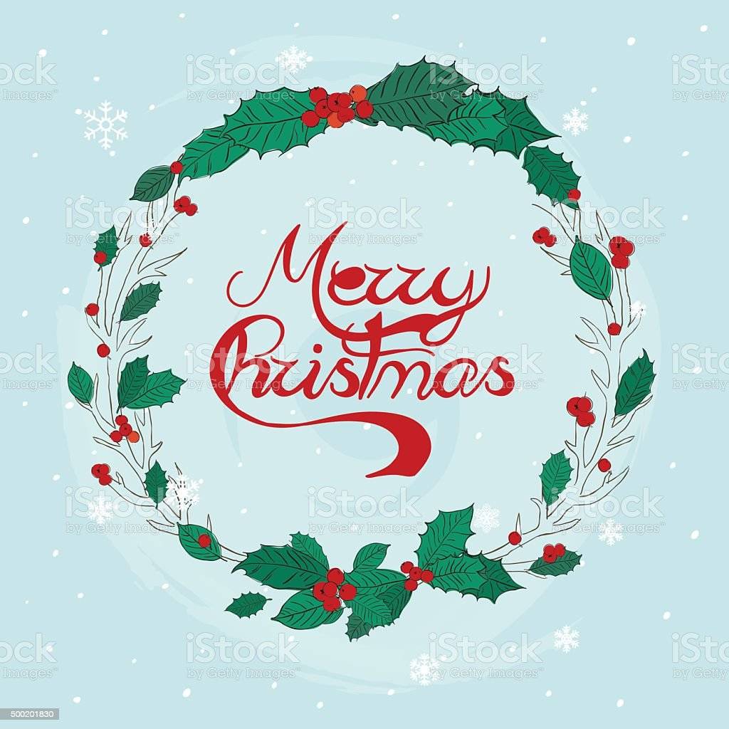 Merry Christmas Greeting Cards Christmas Wreath Print Design V Stock ...