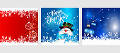 Merry Christmas. Greeting cards with Christmas balls and happy Snowman. Three templates for your design: New Year cards, flyers, invitations, posters, brochures, banners. Vector illustration