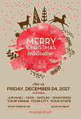 Stylized deer in the woods Merry Christmas greeting design with sample text. Merry Christmas greeting invitation design with watercolor leaves and deer running