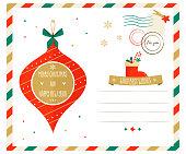 Merry Christmas greeting postcard with Christmas decorative element. Season holiday card