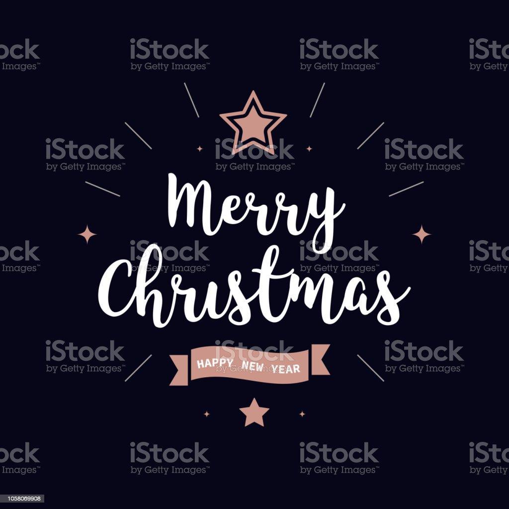 Frohe Weihnachten Gruß Text Stieg Gold Blau Hintergrund Stock Vektor ...
