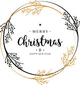 Merry Christmas greeting text wreath branch circle isolated background