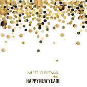 Merry Christmas  greeting vector illustration with confetti and text