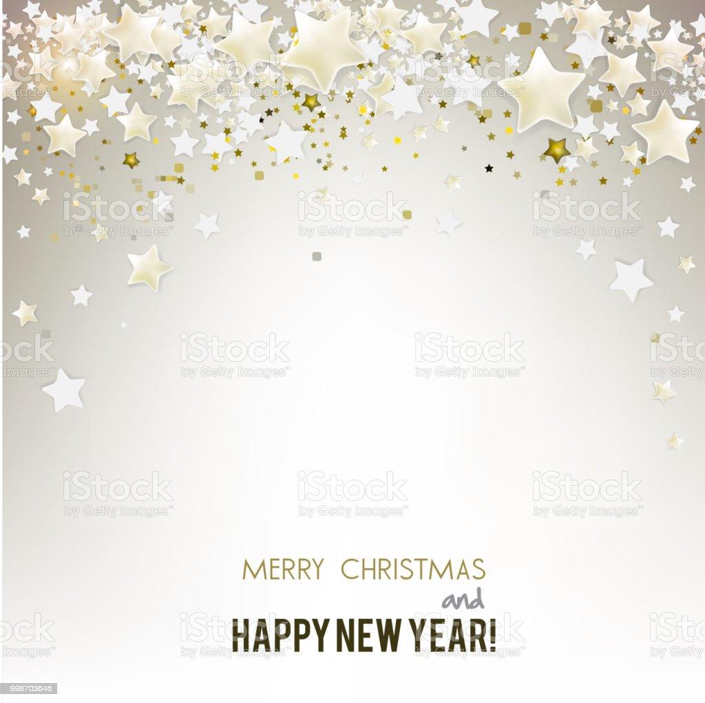 Frohe Weihnachten Gruß Vektorillustration Mit Goldenen Sternen ...