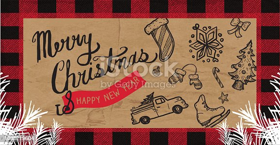 Vector illustration of a Merry Christmas Greeting web banner design template. Includes hand drawn christmas elements, christmas stocking, candy cane, old fashioned red truck with tree, ice skate, mittens, bows and snowflakes. Plaid and paper texture.