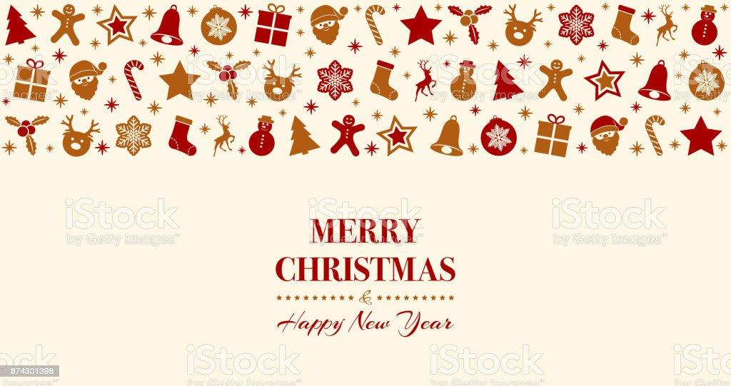 Frohe Weihnachten Begrüßung Mit Dekoration Vektor Stock Vektor Art ...