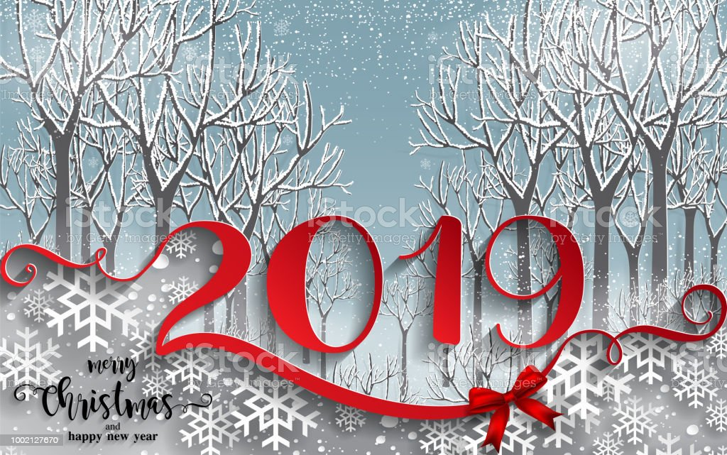 Merry christmas greetings and happy new year 2019 templates with merry christmas greetings and happy new year 2019 templates with beautiful winter and snowfall patterned paper m4hsunfo