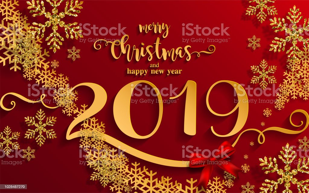 Merry Christmas Greetings And Happy New Year 2019 Templates With ...
