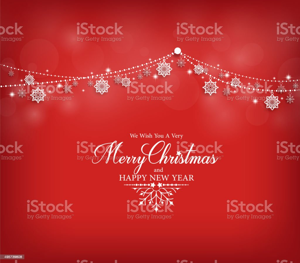 Merry Christmas Greetings Card Design with Snow Flakes vector art illustration