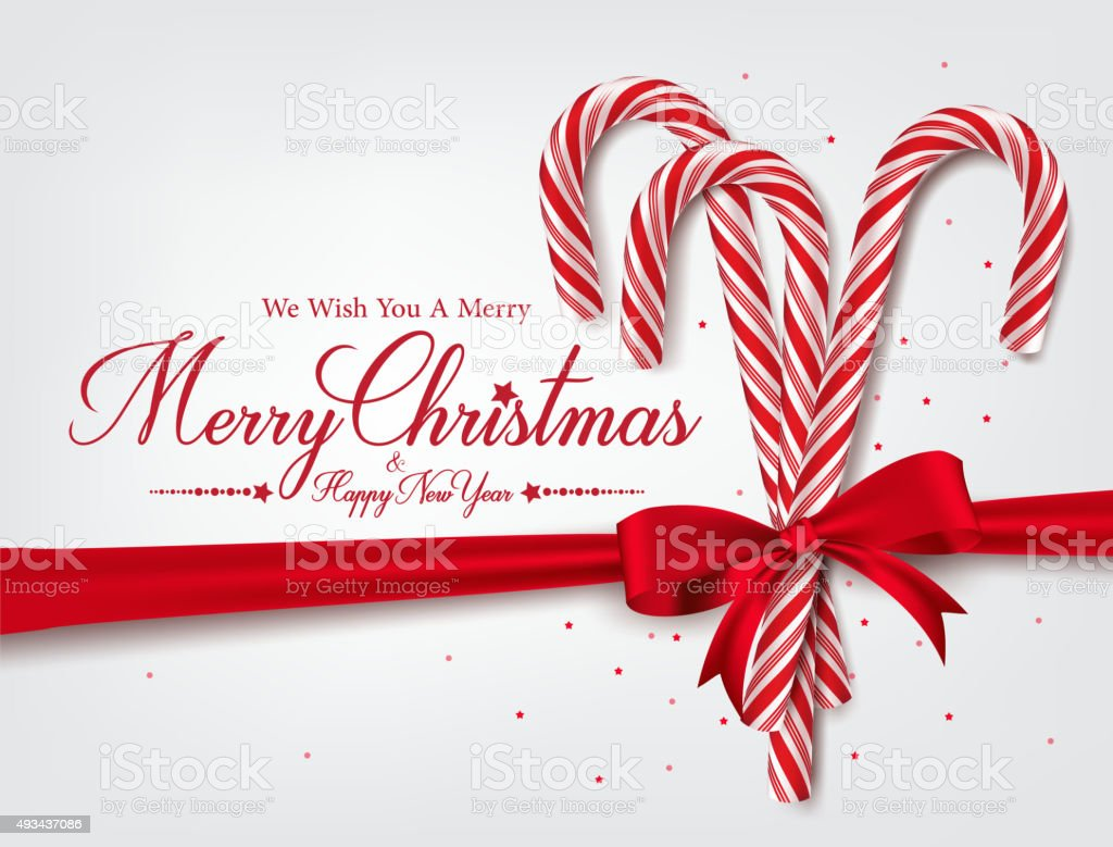 Merry Christmas Greetings in Realistic 3D Candy Cane vector art illustration