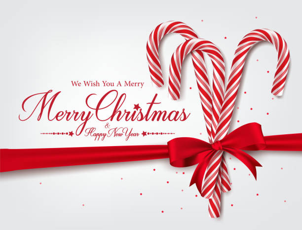 Merry Christmas Greetings in Realistic 3D Candy Cane Merry Christmas Greetings in Realistic 3D Candy Cane and Christmas Balls in Background. Vector Illustration candy clipart stock illustrations