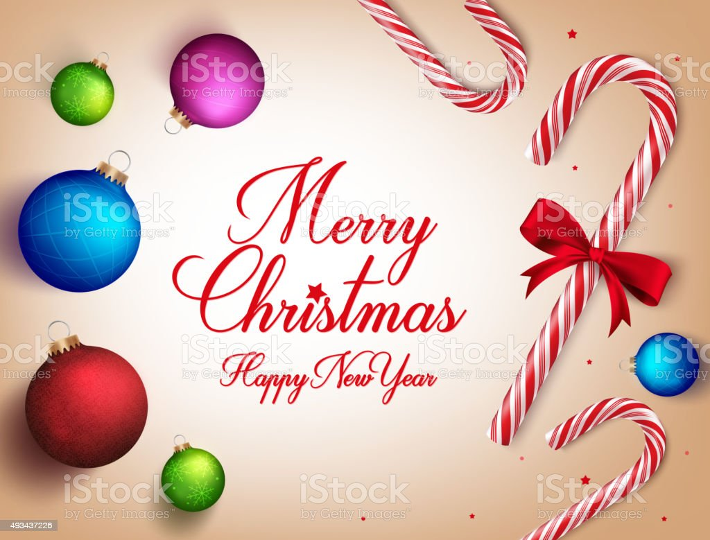 Merry Christmas Greetings In Realistic 3d Candy Cane Stock Vector