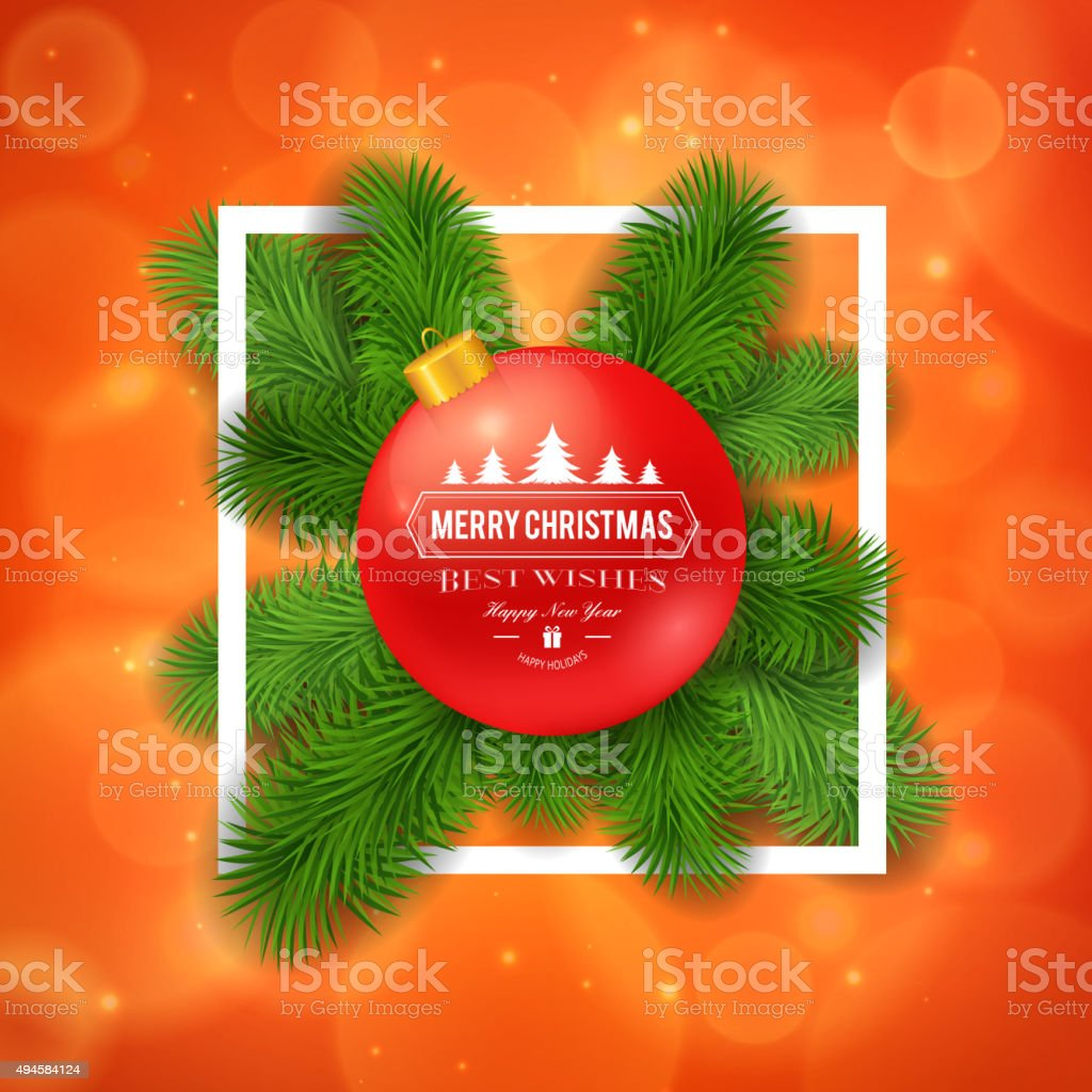 Merry Christmas Greetings Logo On Colorful Background Stock Vector