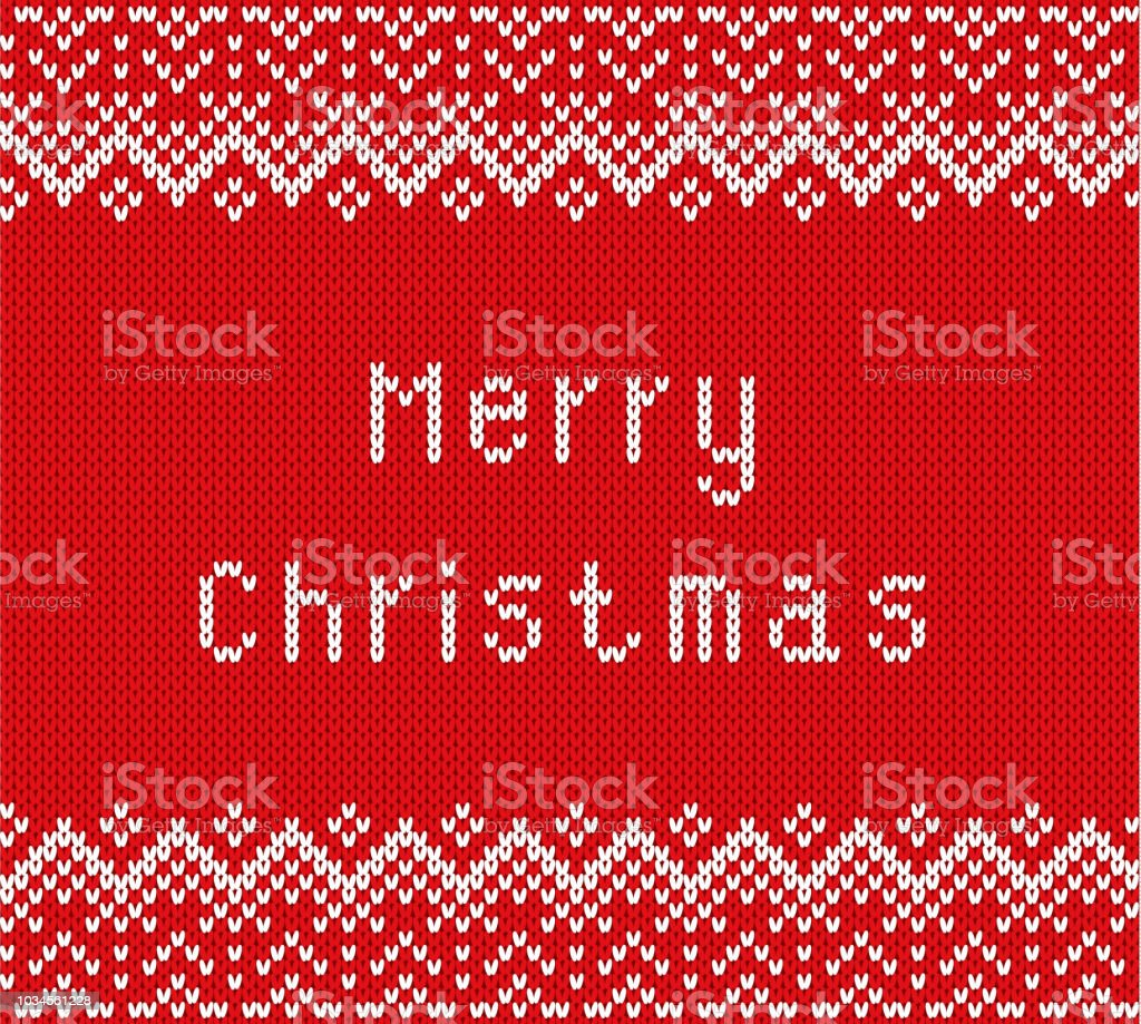 Merry Christmas Greetings On Knitted Textured Background Knit