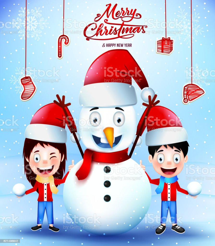 Merry Christmas Greetings Poster with Snowman merry christmas greetings poster with snowman – cliparts vectoriels et plus d'images de adolescent libre de droits