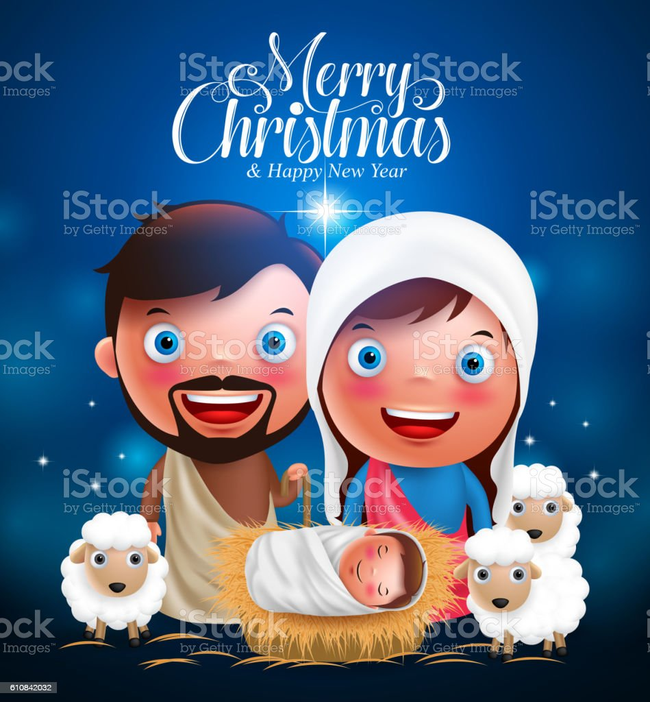 Merry Christmas Greetings With Jesus Born In Manger Vector