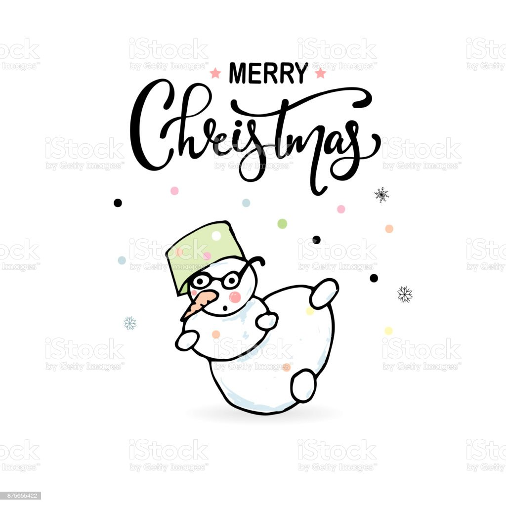 Merry Christmas Hand Draw Greeting Cards With Snowman Royalty Free