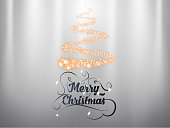 Merry Christmas hand draw lettering text with gold sparcles christmas tree on silver background and light effect. EPS vector illustration.