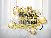 Merry Christmas hand draw lettering text with toys bubbles on silver background and light effect. EPS vector illustration.