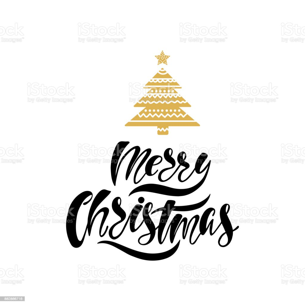 Merry Christmas Hand Drawn Calligraphy Text Holiday Typography Design With Tree Black