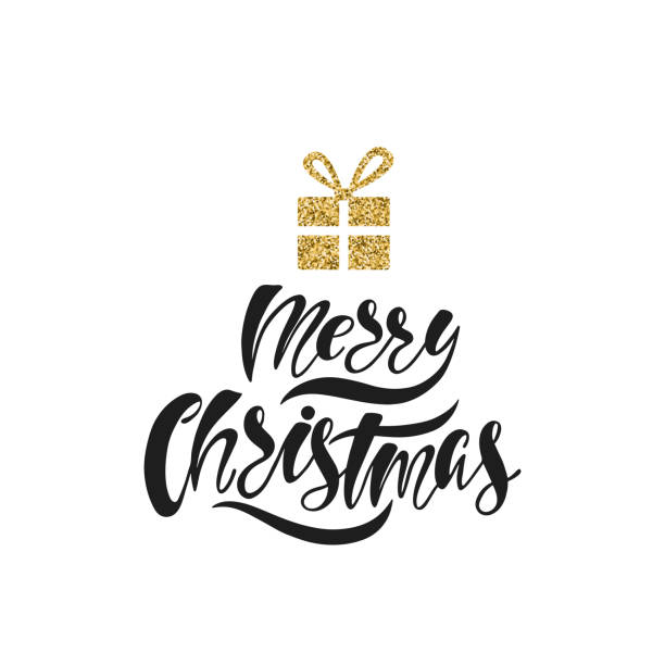 merry christmas hand drawn calligraphy text holiday typography design with glitter christmas gift