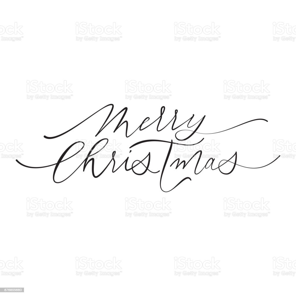 Merry christmas hand drawn calligraphy text of modern lettering merry christmas hand drawn calligraphy text of modern lettering for greeting card design vector festive kristyandbryce Gallery