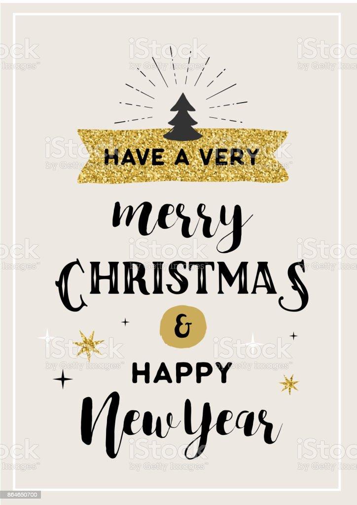 Merry Christmas hand drawn card vector art illustration