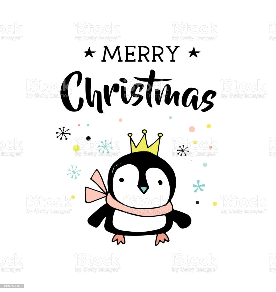 merry christmas hand drawn cute greeting card with penguin. Black Bedroom Furniture Sets. Home Design Ideas