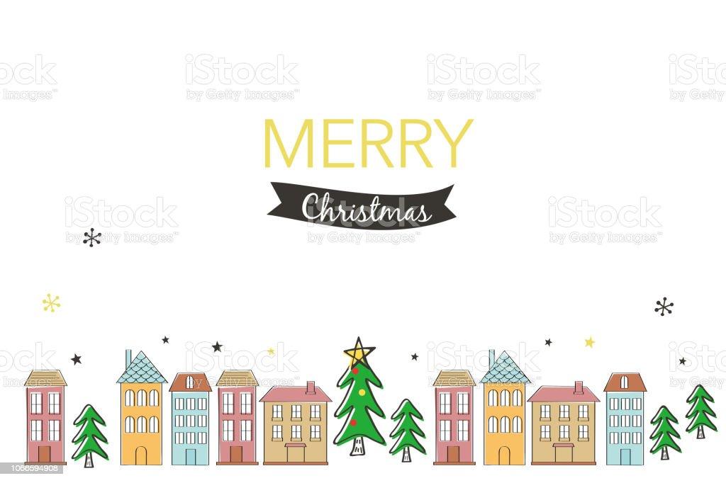 メリー クリスマスの手書きの木と家のイラスト お祝いの