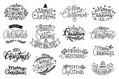 Merry Christmas hand drawn lettering banner set. Typography emblem. Text calligraphy inscription card design. Winter holiday poster template. Wishing handwritten postcard. Isolated vector illustration