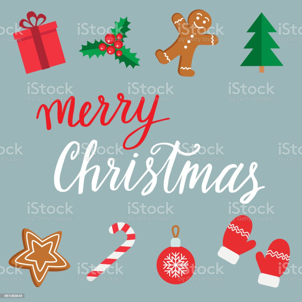 Merry christmas hand drawn lettering christmas and new year merry christmas hand drawn lettering christmas and new year symbols gingerbread man candy buycottarizona Image collections