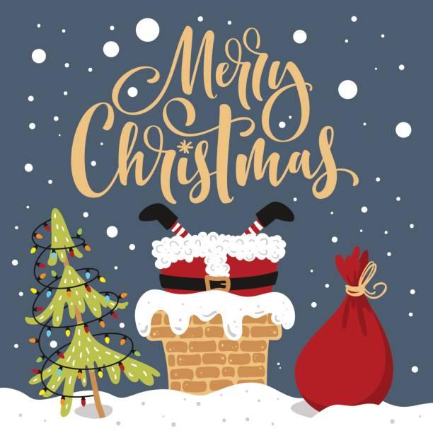 bildbanksillustrationer, clip art samt tecknat material och ikoner med merry christmas handritad bokstäver. santa fastnat. - skorsten