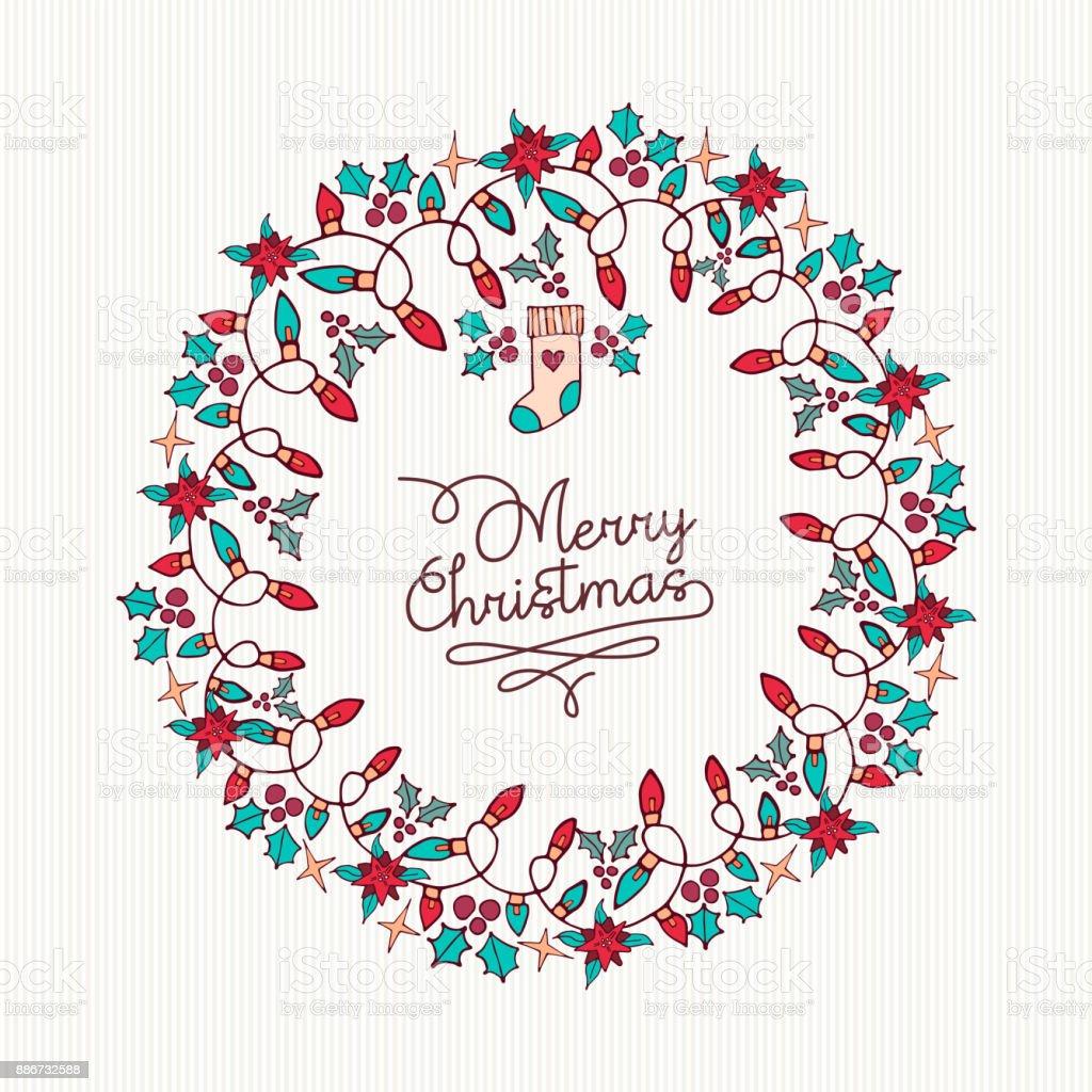 メリー クリスマス手書き自然花輪カード いたずら書きのベクターアート素材や画像を多数ご用意 Istock
