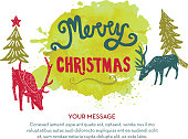 Vector illustration of a Merry Christmas hand lettered Christmas or Holiday greeting design on watercolor blob.