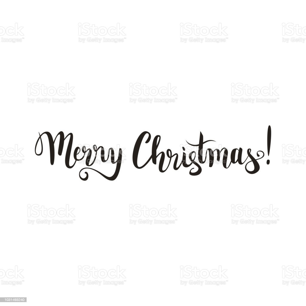 merry christmas hand lettering brush pen calligraphy vector illusration greetings postcard royalty free